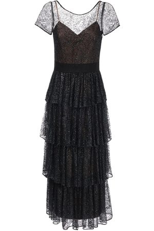 Marchesa Notte Ruffled Long Tulle Dress
