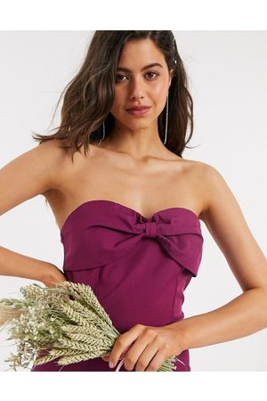Little Mistress Damen Maxikleider - – Bridesmaid – Trägerloses Maxikleid in Maulbeere mit Zierschleife