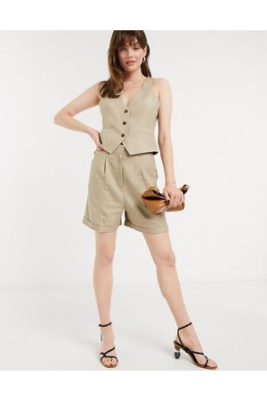 ASOS – Dad-Anzug-Shorts in Taupe