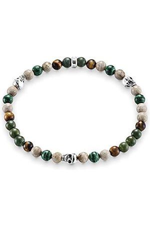 Thomas Sabo Damen Armbänder - Damen Herren-Armband Rebel at Heart Totenkopf 925 Sterling geschwärzt natur grün braun Länge 15.5 cm A1531-929-7-L15