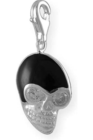 Melina Damen-Charm Anhänger Totenkopf Onyx 925 Sterling Silber 1800726