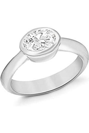 Tuscany Silver Damen Oval cubic Zirkonia Ring Sterling Silber Quadratisch N
