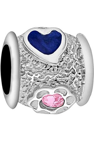 Tuscany Charms Sterling Silver Blue Enamel & Pink Crystal Bead