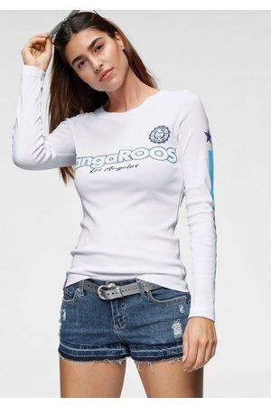 KangaROOS Langarmshirt mit Druck und Streifen am Ärmel