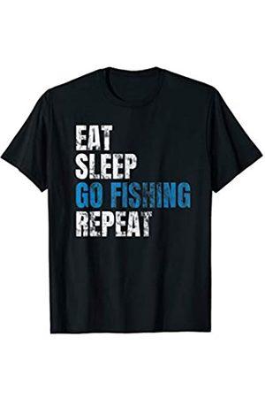 Angler Sprüche Eat Sleep Go Fishing Repeat T-Shirt