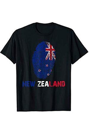 Vishtea NEW ZEALAND Finger Print Flag Tshirt I Love Travel Tee T-Shirt