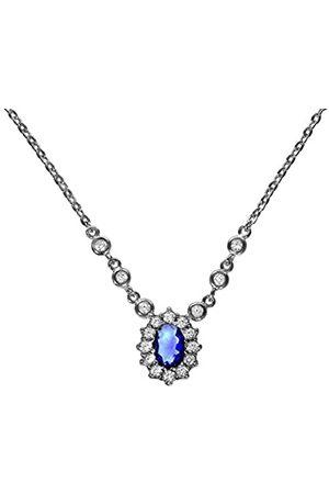 Zeeme Damen Collier 925 Sterling Silber rhodiniert Glas blau Ovalschliff Zirkonia 45 cm 025250112