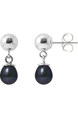 Pearls & Colors Damen-Ohrhänger 925 Silber rhodiniert Perle Tropfenschliff Süßwasser-Zuchtperle Schwarz - AM-BOMC 104 OV56-BL
