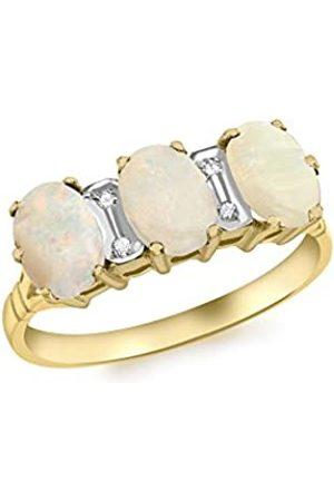 Carissima Gold Carissima Damen Drefacher Opal und Diamant Ring 9k(375) 0.02k Gelbgold L