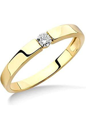Miore Ring Damen Solitär Verlobungsring 9 Karat / 375 Gold Diamant Brilliant 0.10 ct