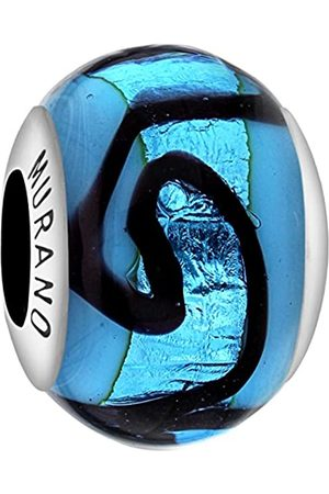 Tuscany Charms Sterling Silver Blue & Black Squig Murano Bead