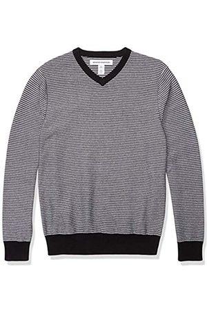 Amazon V-Neck Sweater Pullover-Sweaters, Orange/White Stripe