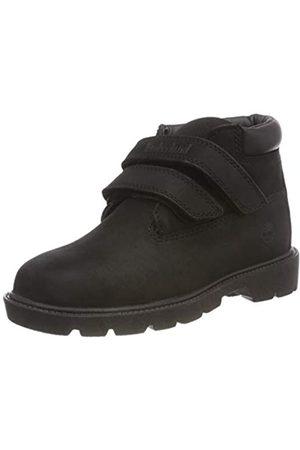 Timberland Unisex-Kinder Double Strap Hook & Loop Waterproof Chukka Boots, (Black Nubuck)
