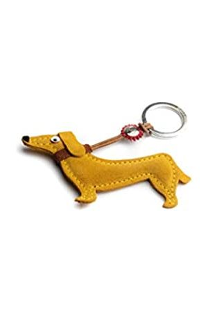 Dallaiti Design Schlüsselanhänger aus Veloursleder mit Ring aus Metall 11 cm (Gelb) - PCA035/14