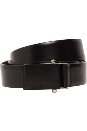 Prada 3.2cm Debossed Logo Leather Belt