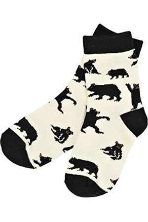 Hatley Jungen Animal Crew Socks Sneakersocken, (Bear On Natural)
