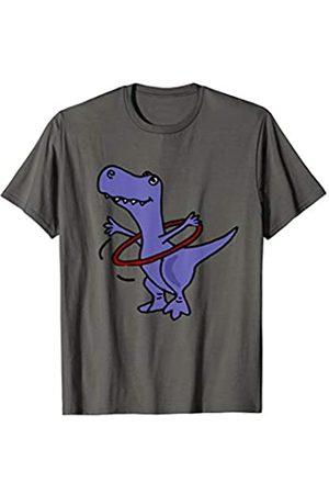 Smiletodaytees T-Rex Dinosaurier und Hula Hoop T-Shirt