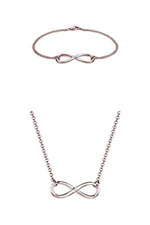 DIAMORE Damen Schmuck Armband Gliederarmband Infinity Unendlichkeit Liebe Freundschaft Forever Liebesbeweis + Damen Halskette Infinity 925 Sterling Silber Diamant rose Vergoldet