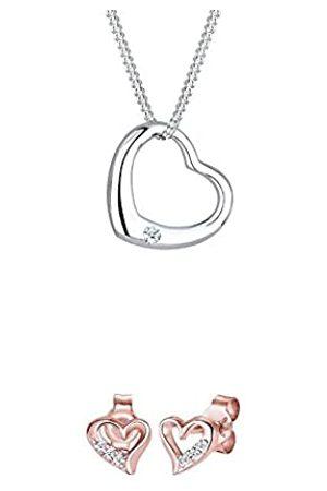 DIAMORE Damen-Halskette Herz 925 Sterling Silber Diamant 0,03ct 45 cm + Damen Ohrstecker Herz Silber 925 Diamant 0
