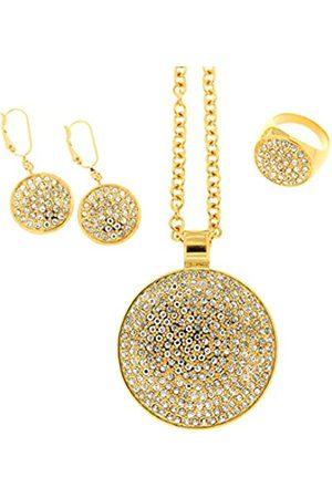 Jean Pierre Damen-Schmuckset Halskette + Ohrringe + Ring Pavé mit Swarovski Messing Synthetik Diamant weiß Rundschliff - HESET6095 GP 16