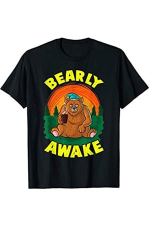 Funny Bearly Awake Sleepy Bear Pun Gifts Bearly Awake Sleeping Bear Funny Barely Awake Sleepy Pun T-Shirt