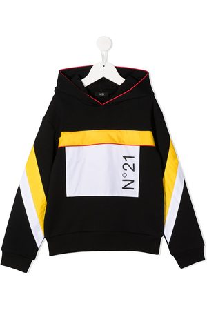 Nº21 Kapuzenpullover in Colour-Block-Optik