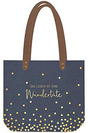 GRAFIK WERKSTATT Das Original Grafik Werkstatt Shopper Damen | Tasche | Shopping-Bag | Leinen | grau-gold | Wundertüte