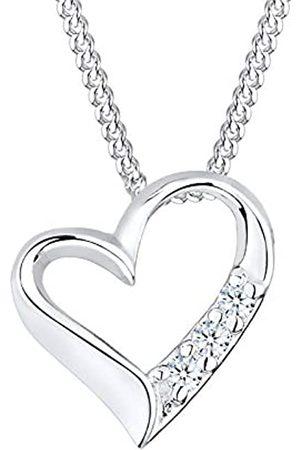 DIAMORE Halskette Damen mit Herz Anhänger Ewigkeit mit Diamant (0.06 ct.) in 925 Sterling