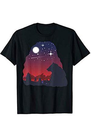 Bär Wildnis bei Nacht Sterne Mond Geschenke Tier Nachtleben wilder Bär sitzt im Wald bei klarer Nacht T-Shirt
