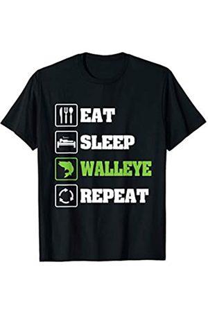 Angeln IM Co Eat Sleep Fish Repeat Zander Angeln T-Shirt
