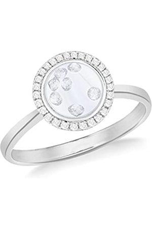 Tuscany Silver Ring Rhodiniert Sterling Weiß Zirkonia Schwebend Steine Rund - Größe N
