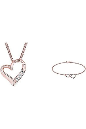 DIAMORE Halskette Herz Diamant (0.06 ct.) 925 + Damen-Armband Herz Liebe Silber Diamant (0.02 ct.) 925