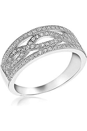 Tuscany Silver Ring Rhodiniert Sterling Elliptisch Weiß Zirkonia - Größe L