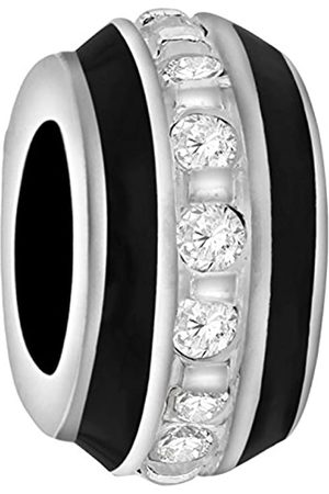 Tuscany Charms Sterling Silver Cubic Zirconia & Black Enamel Bead