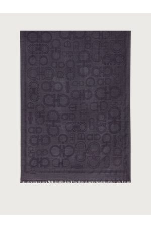 Salvatore Ferragamo Herren Wool and silk scarf with Gancini Taormina Stone