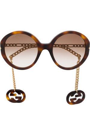 Gucci Detachable-charm oversize-frame sunglasses