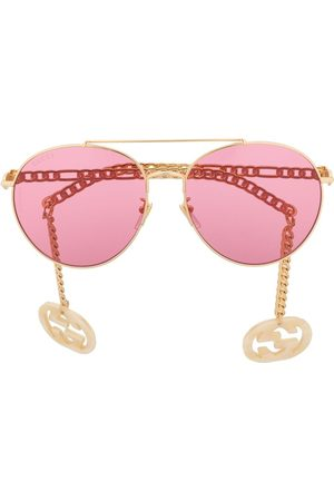 Gucci Detachable-charm round-frame sunglasses