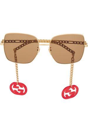 Gucci Damen Sonnenbrillen - Square-frame chain-arms sunglasses