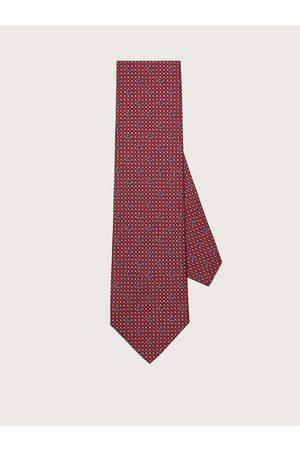 Salvatore Ferragamo Herren Silk tie with printed Gancini Blue/red