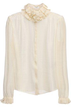 Saint Laurent Gold Fil Coupé Silk Sheer Shirt