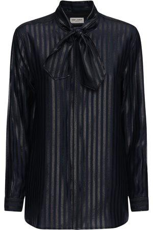 Saint Laurent Sheer Silk Lurex Stripe Fil Coupé Shirt