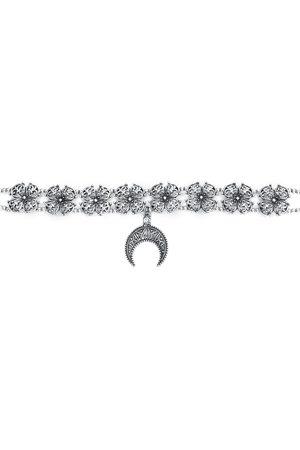 Gothicana Damen Halsketten - Crescent Moon Halsband silberfarben