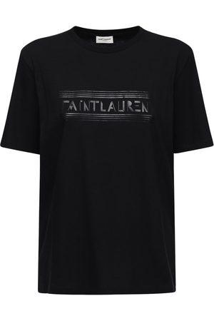 Saint Laurent T-shirt Aus Baumwolljersey Mit Logodruck