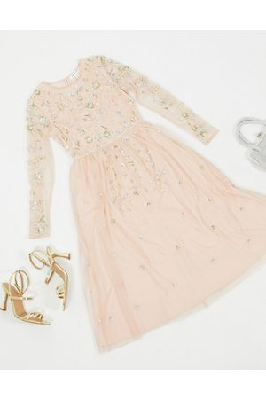 Frock and Frill Frock & Frill – Verziertes, langärmliges Midikleid in Blush