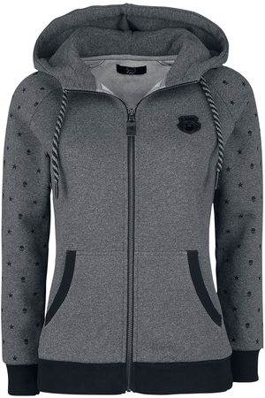 EMP Damen Sweatjacken - Graue Kapuzenjacke mit bedruckten Ärmeln Kapuzenjacke dunkelgrau
