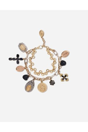 Dolce & Gabbana Damen Armbänder - Yellow, white and red devotion bracelet with black sapphire and black jade roses