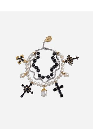 Dolce & Gabbana Yellow and white family bracelet with cblack sapphire, pearl and black jade beads