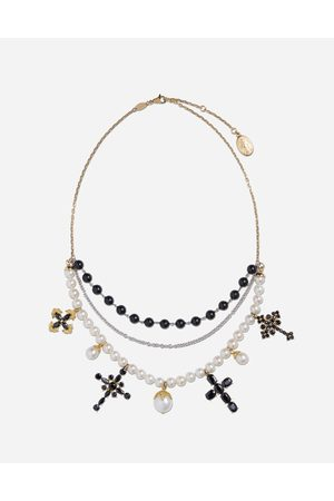 Dolce & Gabbana Family necklace in yellow and white black sapphires