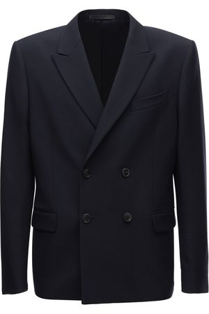VALENTINO Logo Double Breasted Wool Jacket