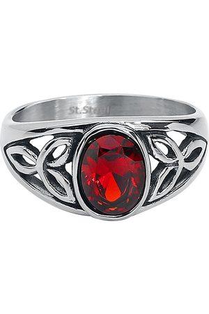 etNox Damen Ringe - Roter Kristall Ring silberfarben